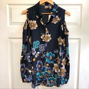 NEW Chico's Floral Cold Shoulder Button Up Blouse